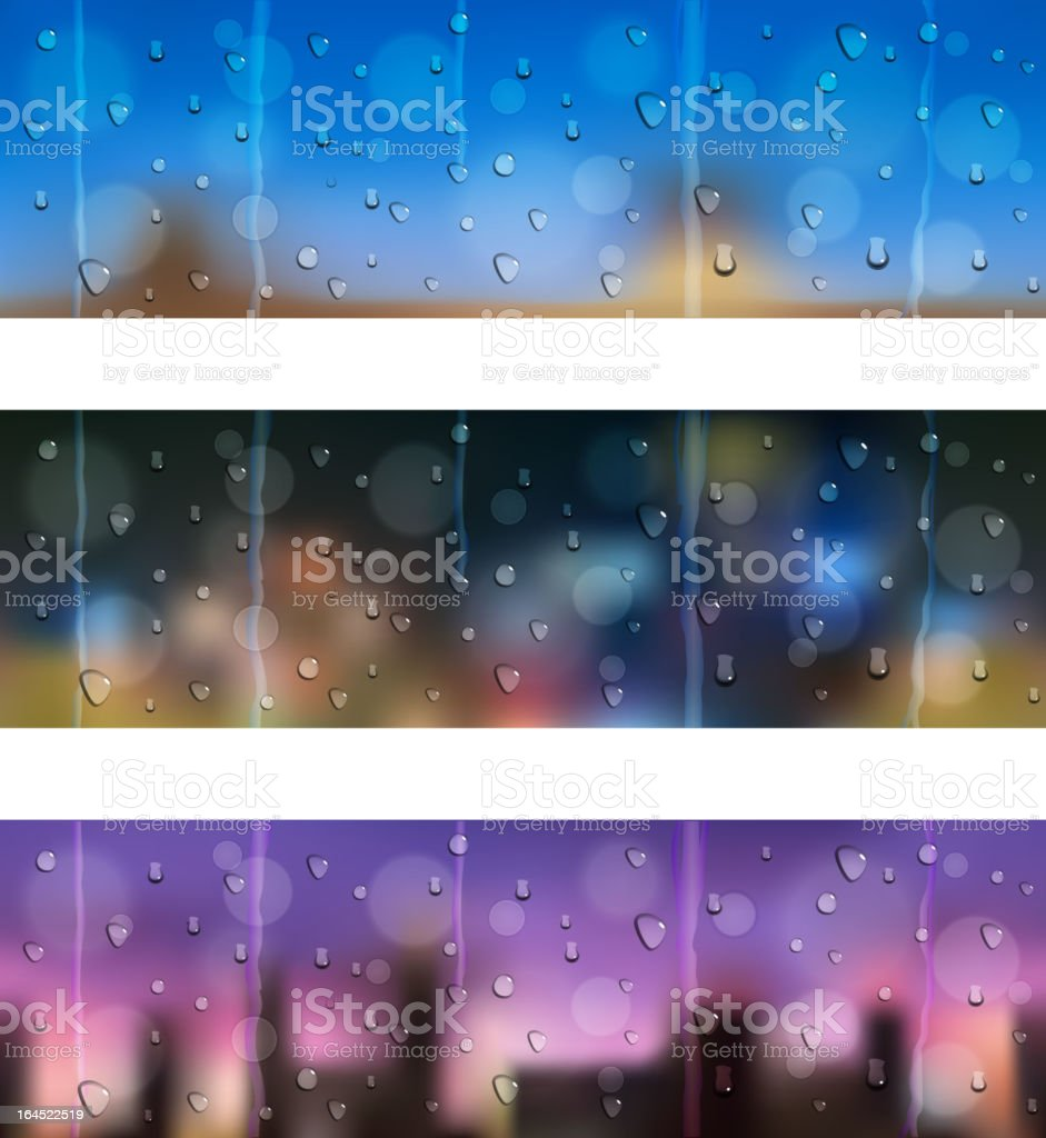 Drops on window glass. Seamless banners. royalty-free stock vector art
