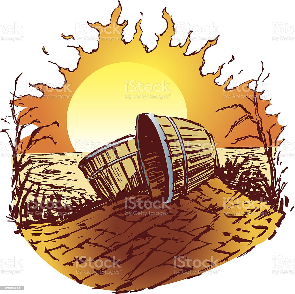Drought - Sunshine with Baskets royalty-free stock vector art