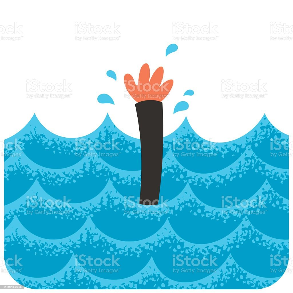 Drowning 2 vector art illustration
