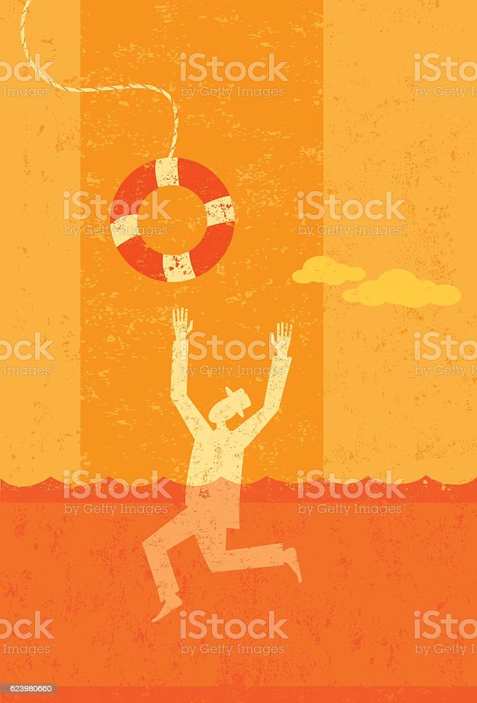 Drowning businessman being saved vector art illustration