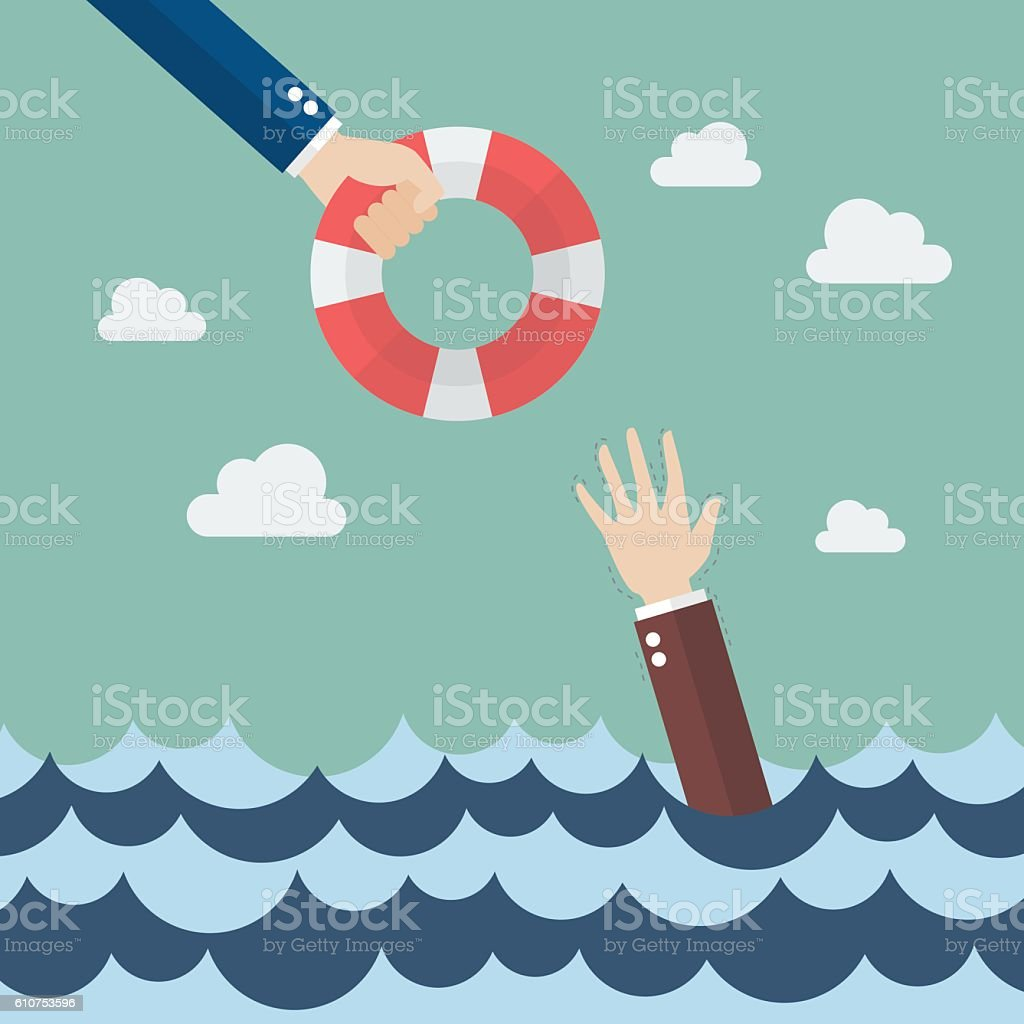 Drowning businessman getting lifebuoy from other businessman vector art illustration