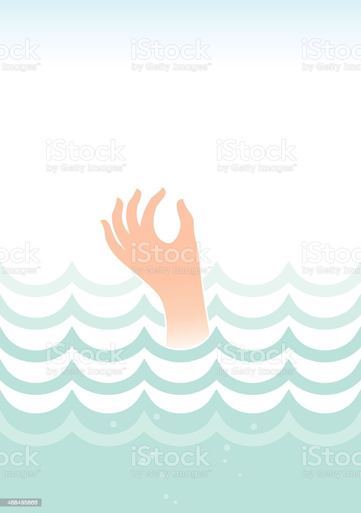 Drowning in the sea illustration vector art illustration