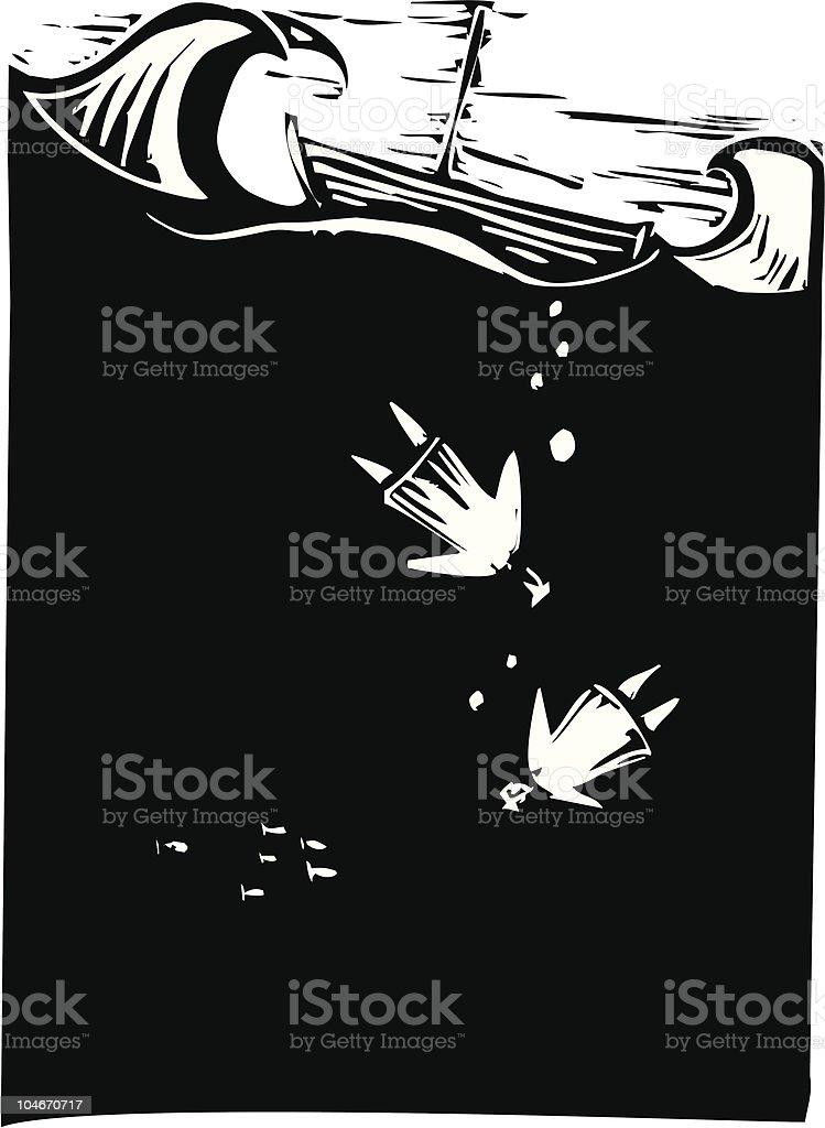 Drowning vector art illustration