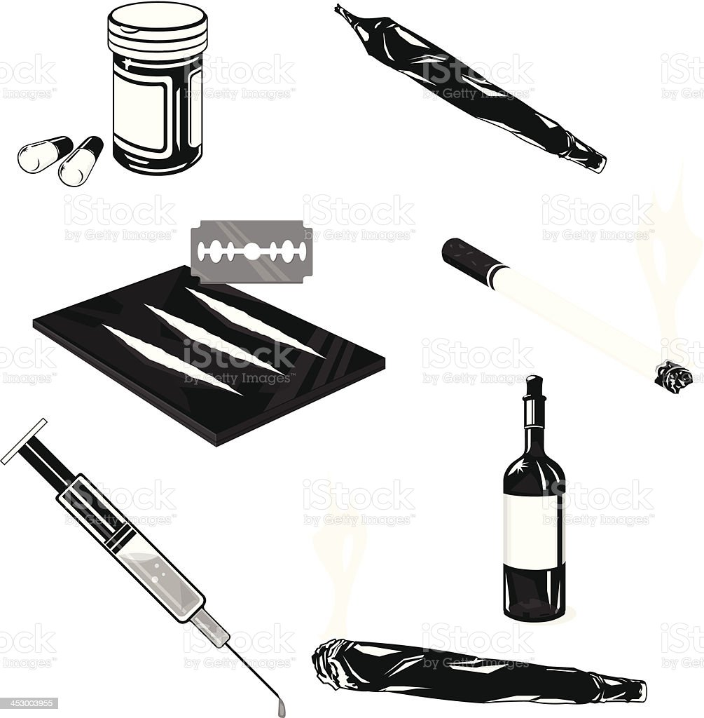 Drug Abuse Icon Set vector art illustration