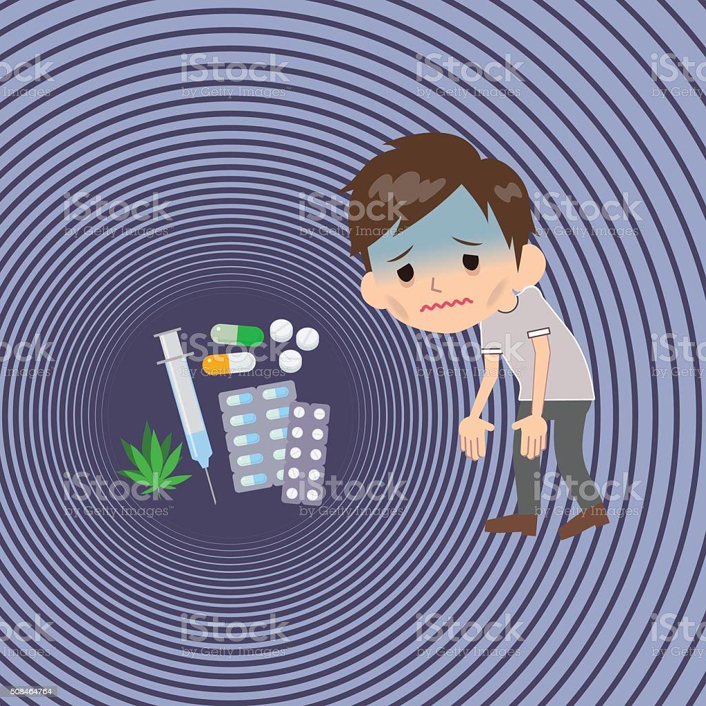 drug addict Lethargy vector art illustration