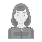 Drug addict man icon in monochrome style isolated on white