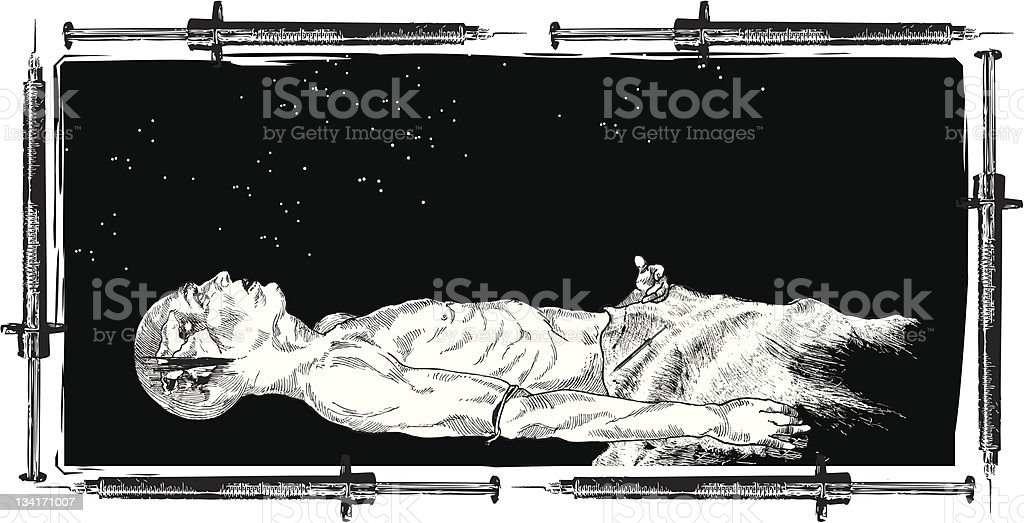 Drug Addict Tripping b&w royalty-free stock vector art