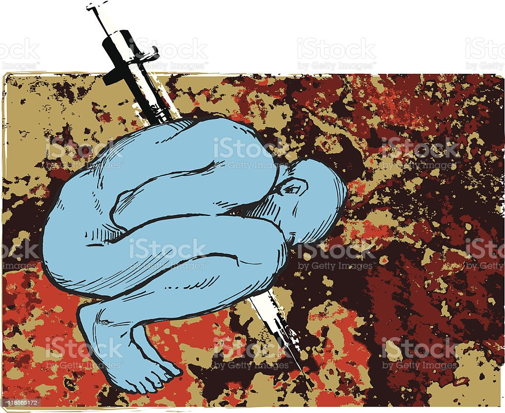 Drug Addict with Needle Through His Body Against Grunge Background vector art illustration