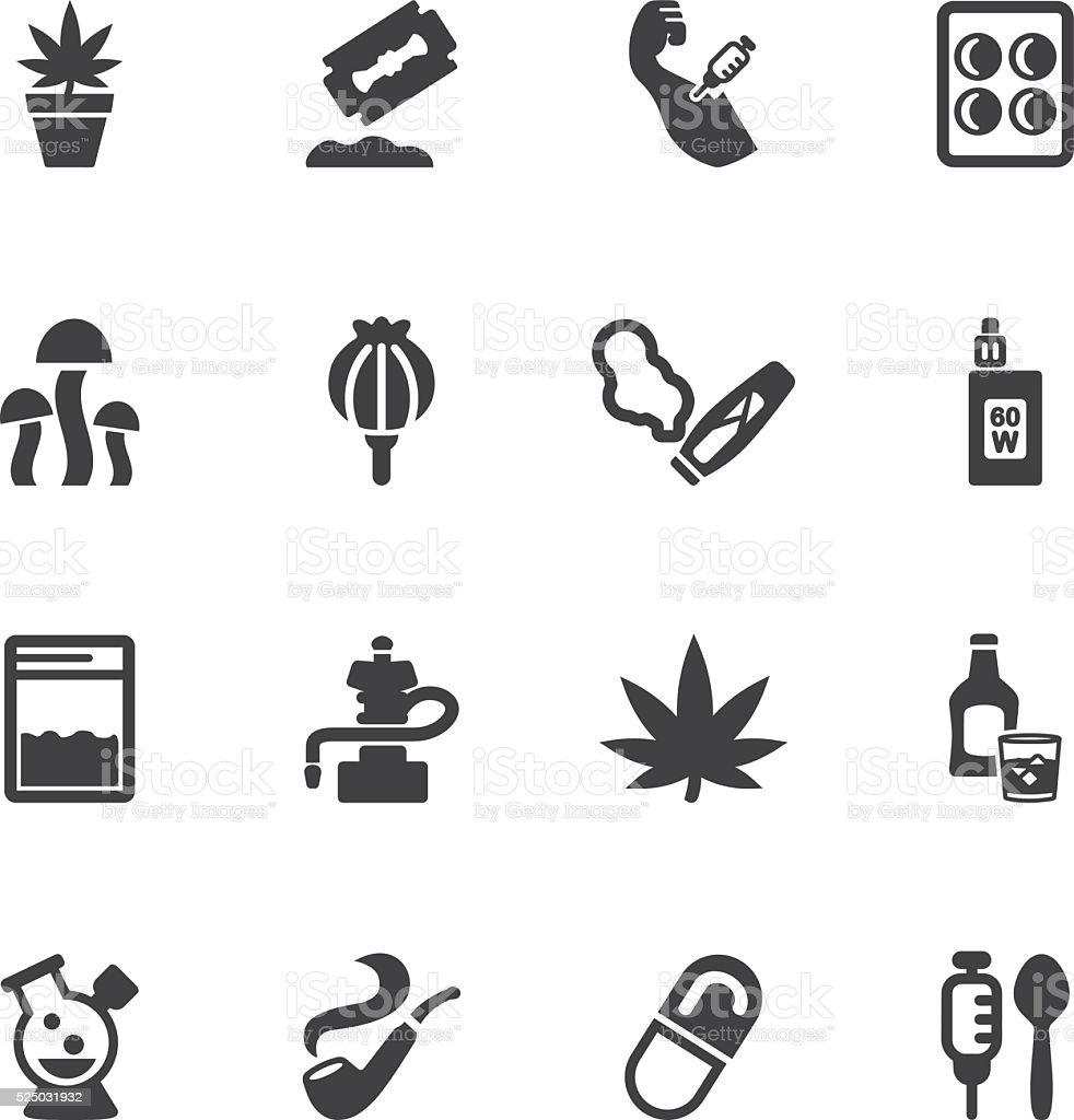 Drug Silhouette icons | EPS10 vector art illustration