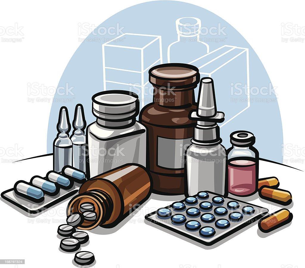 drugs and pills vector art illustration