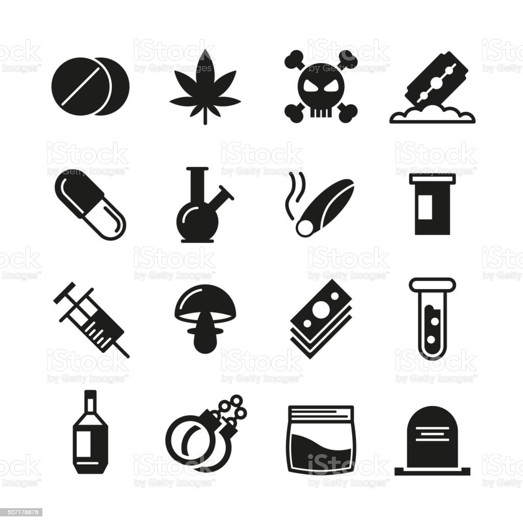 Drugs black vector icons set vector art illustration