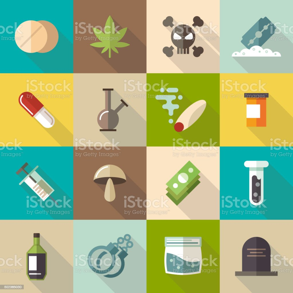 Drugs flat vector icons set vector art illustration