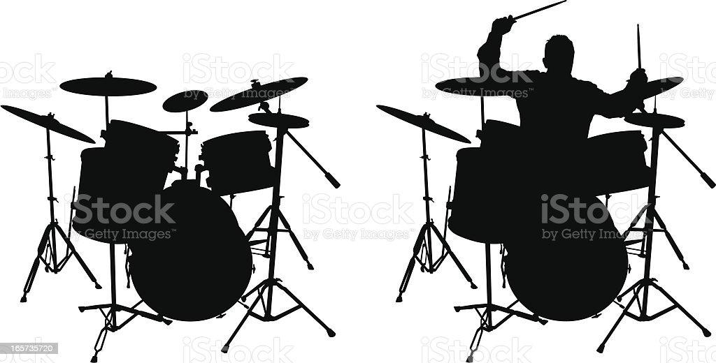Drum and Drummer (vector illustration) vector art illustration