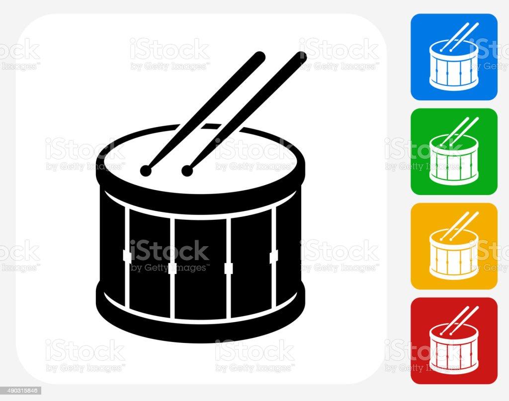 Drum and Drumsticks Icon Flat Graphic Design vector art illustration