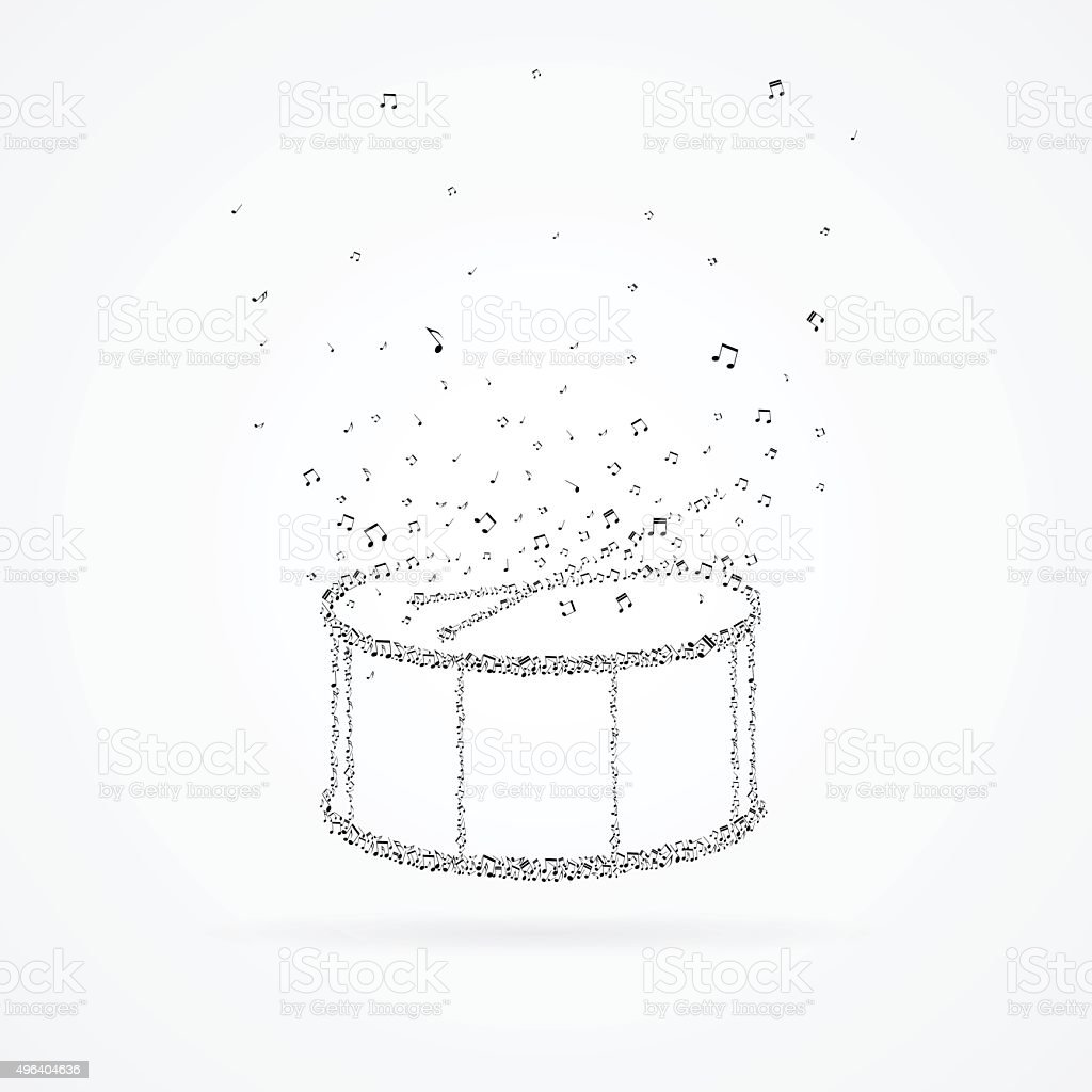 Drum and drumsticks made from floating notes. vector art illustration