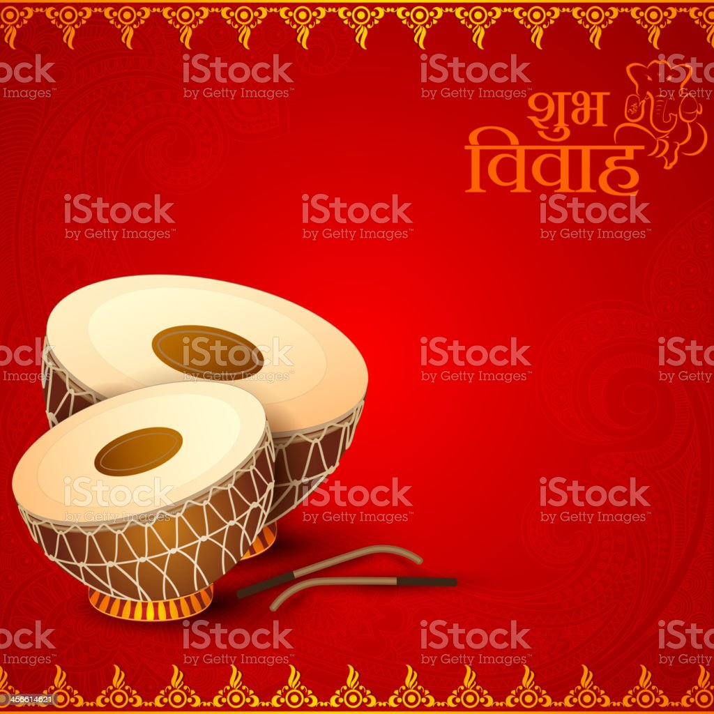 Drum in Indian Wedding Invitation Card vector art illustration