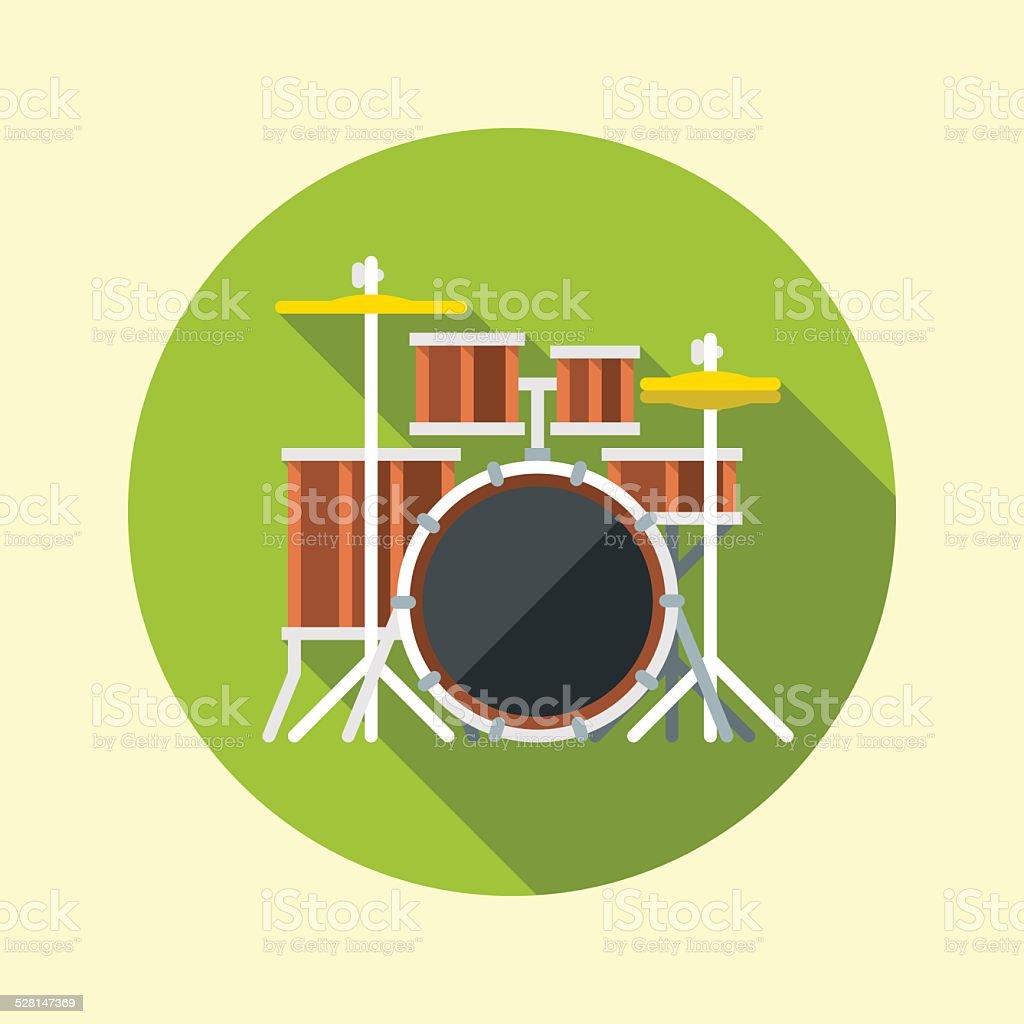 Drum kit icon. Flat design long shadow. Vector illustration. vector art illustration