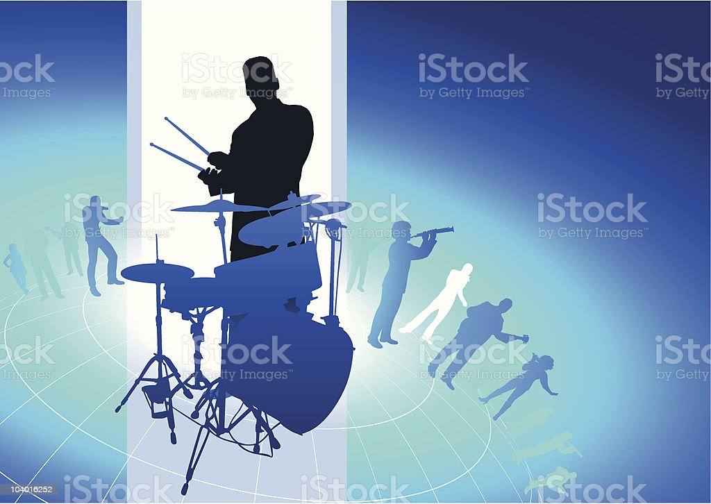 Drum players with group on blue background royalty-free stock vector art