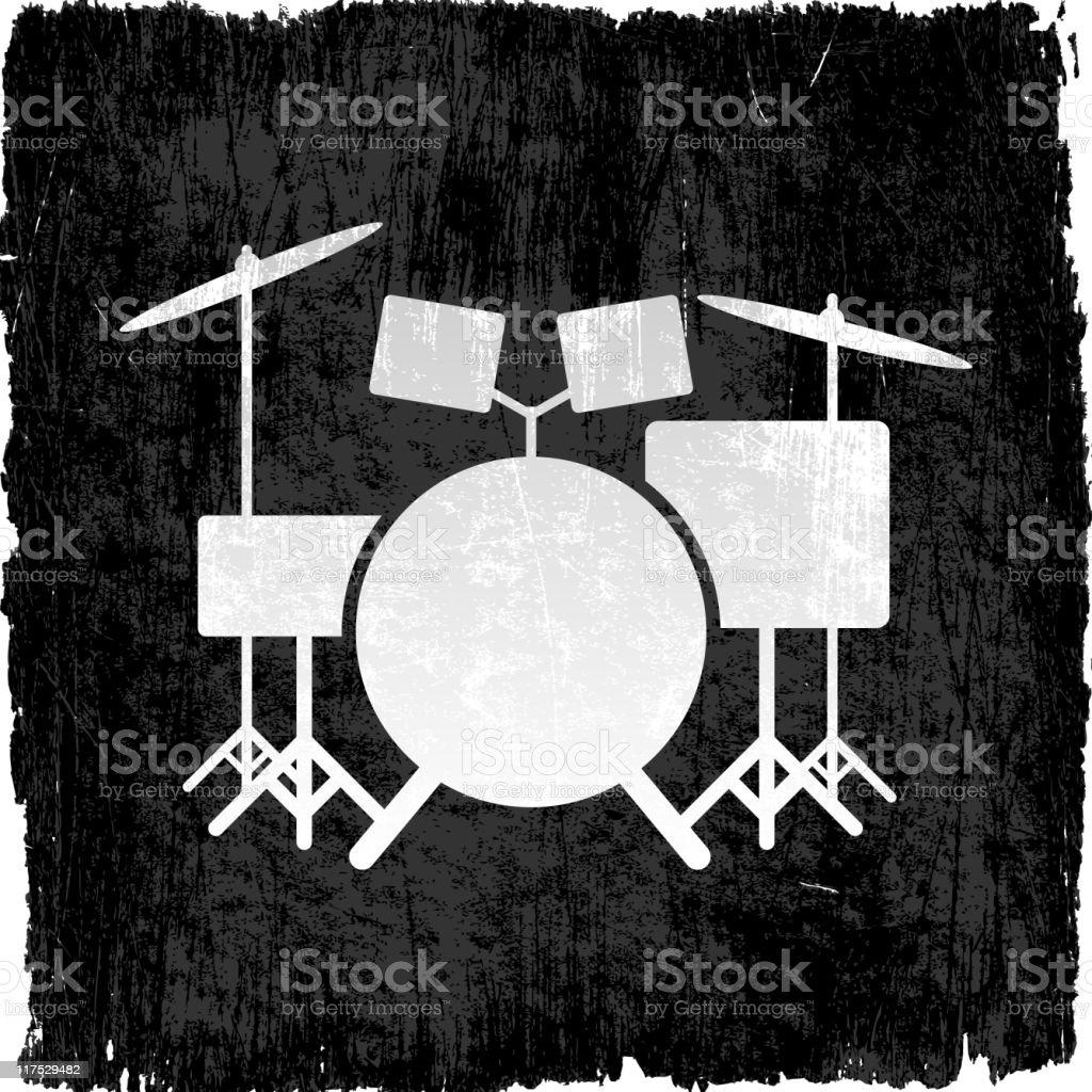 drum set grunge background vector art illustration