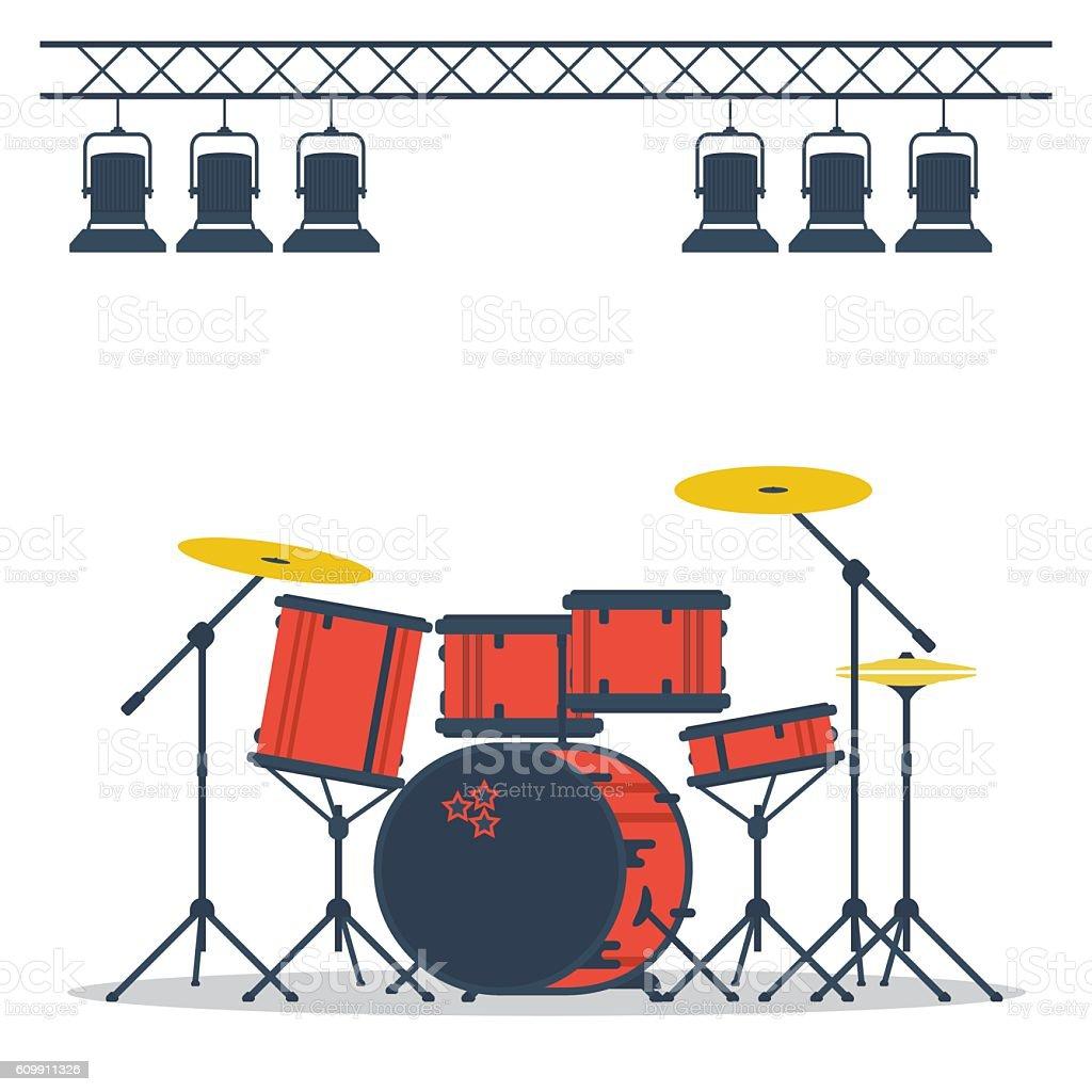 Drum set on stage vector art illustration