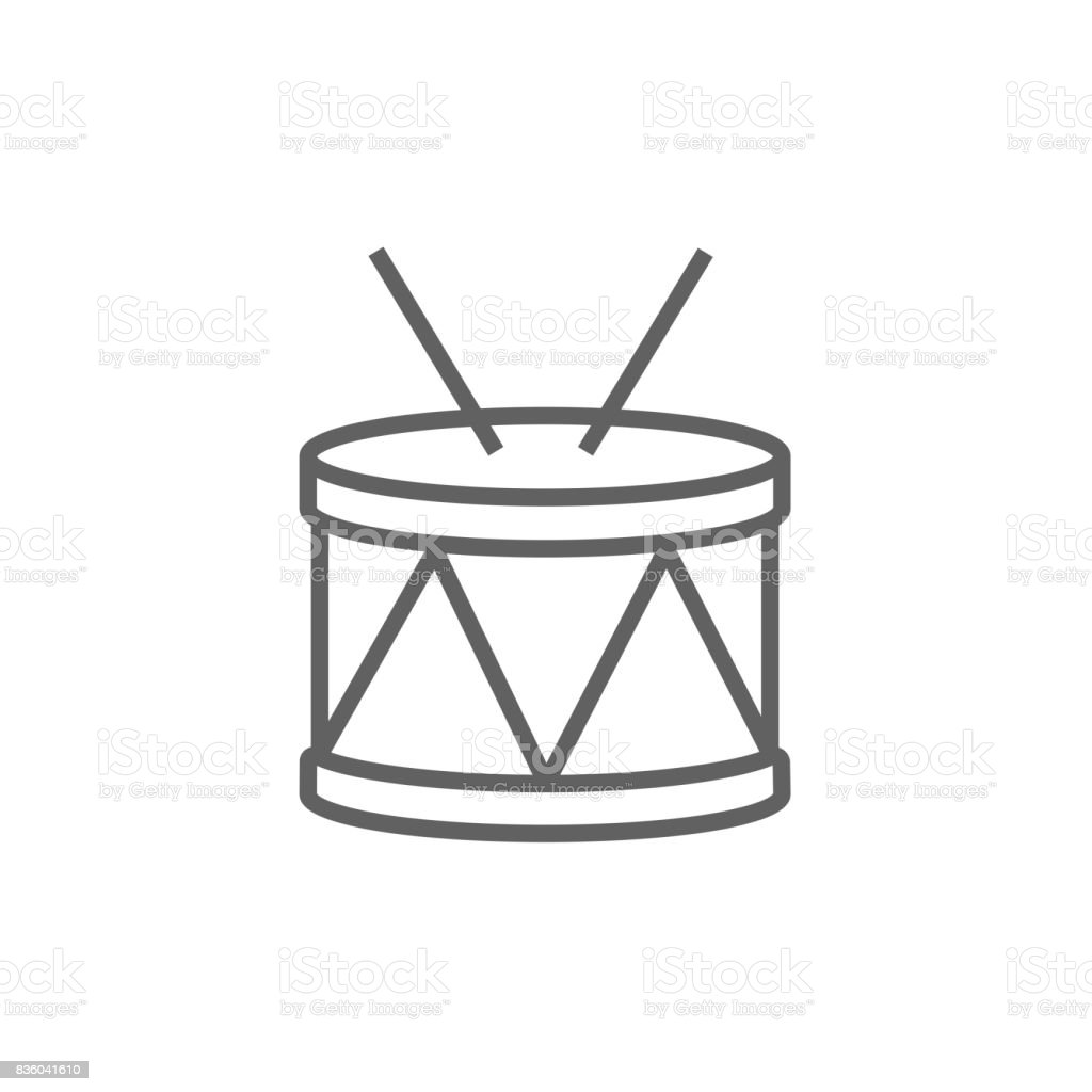 Drum with sticks line icon vector art illustration