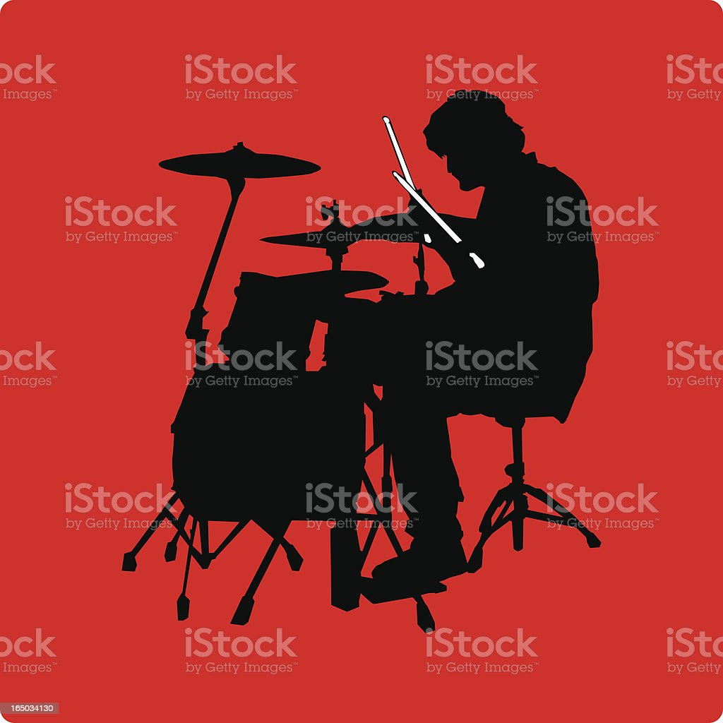 Drummer Silhouette - Side View (vector illustration) vector art illustration