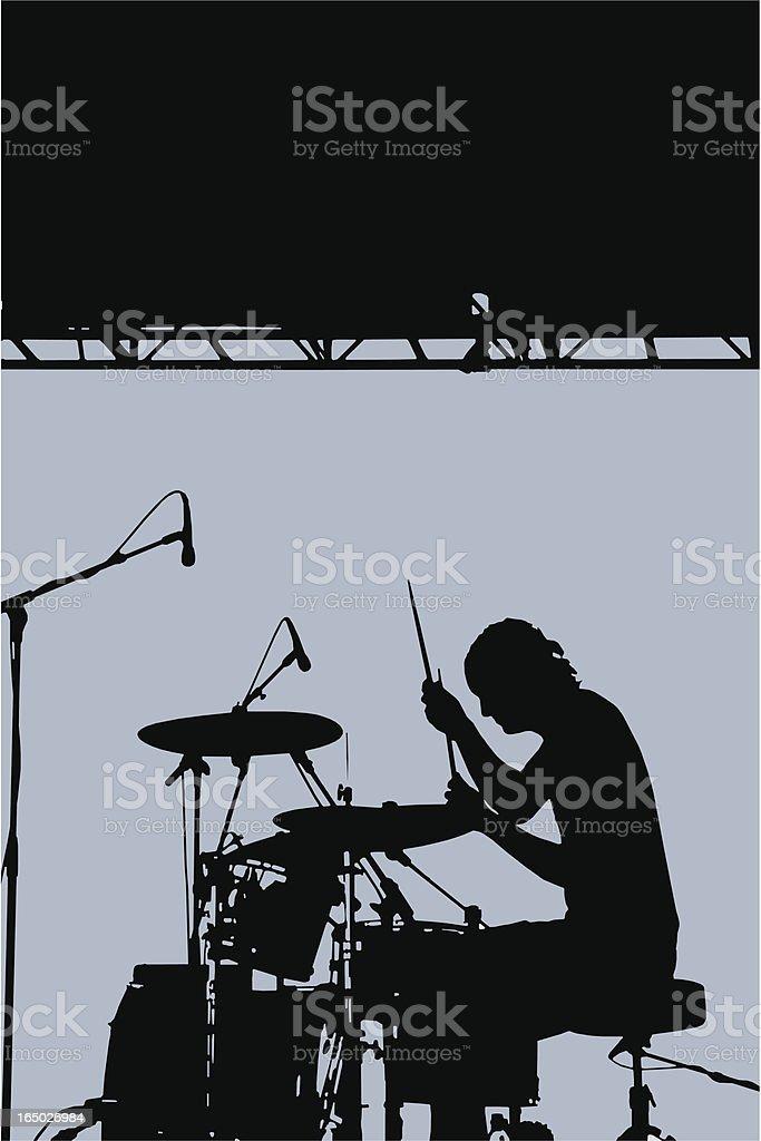 Drummer Silhouette (Vector) royalty-free stock vector art