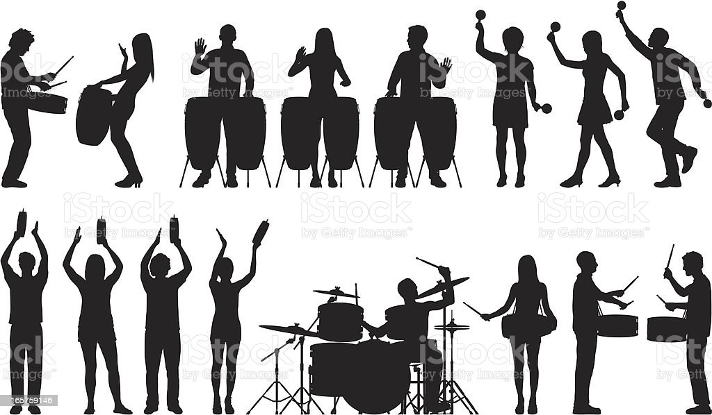 Drummers and Other Percussionists royalty-free stock vector art