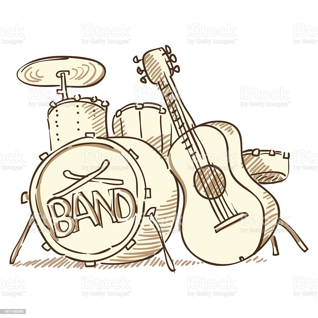 Drums and Guitar vector art illustration