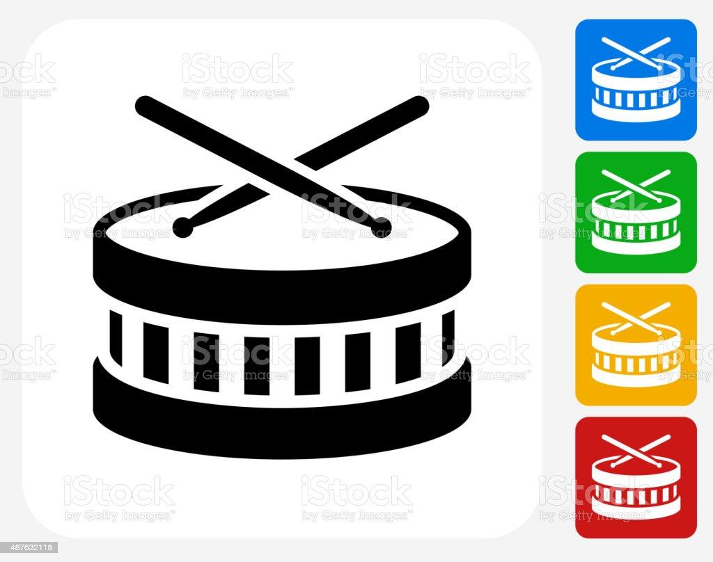 Drums Icon Flat Graphic Design vector art illustration