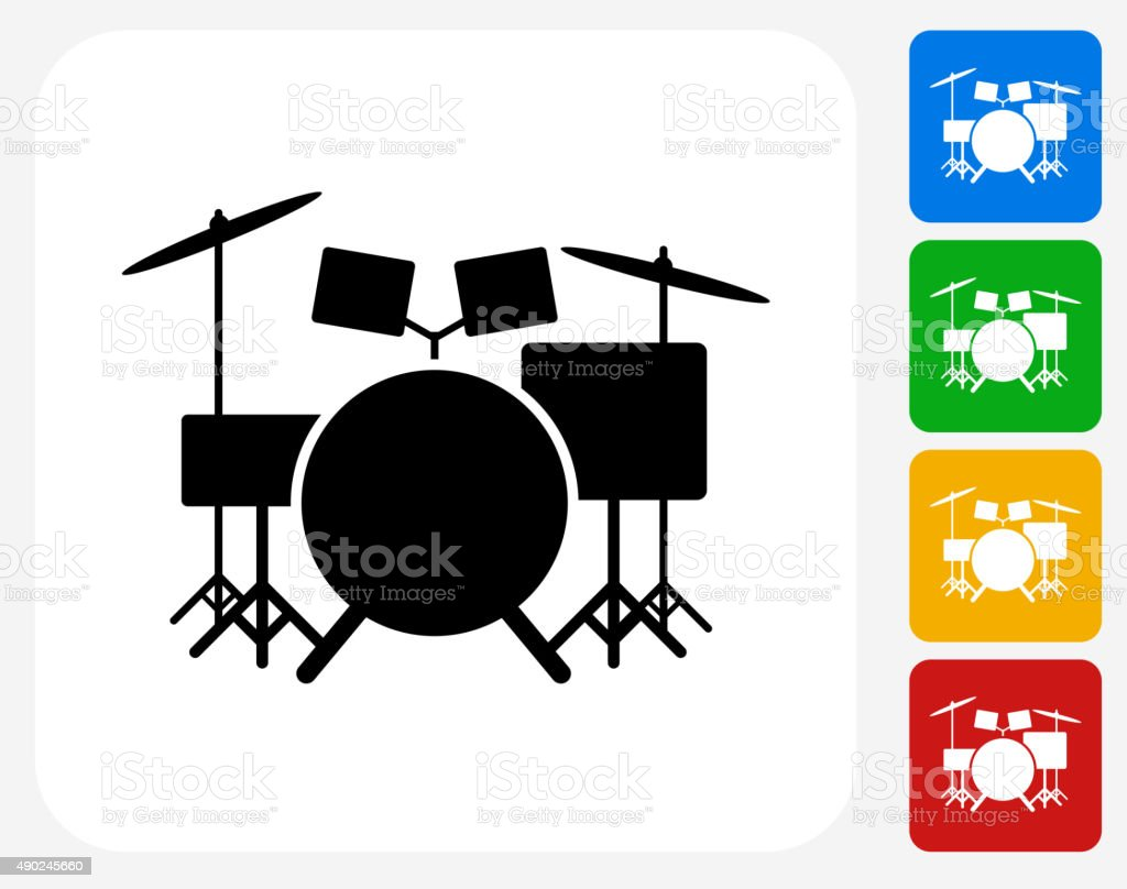 Drums Instrument Icon Flat Graphic Design vector art illustration