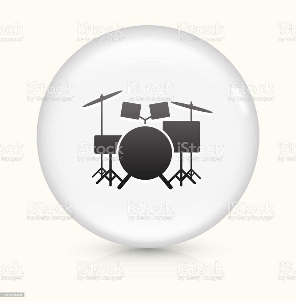 Drums Instrument icon on white round vector button vector art illustration
