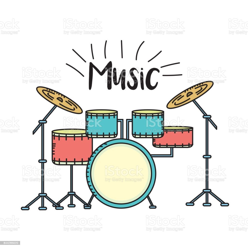 drums musical instrument to play music vector art illustration