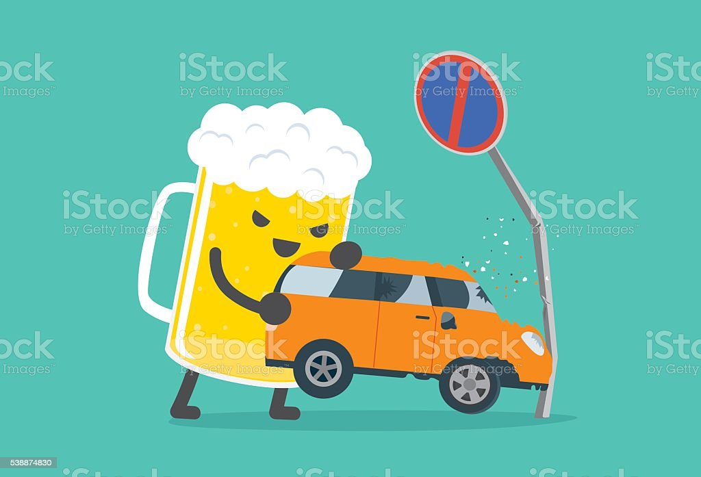 Drunk and driving make car accident. vector art illustration