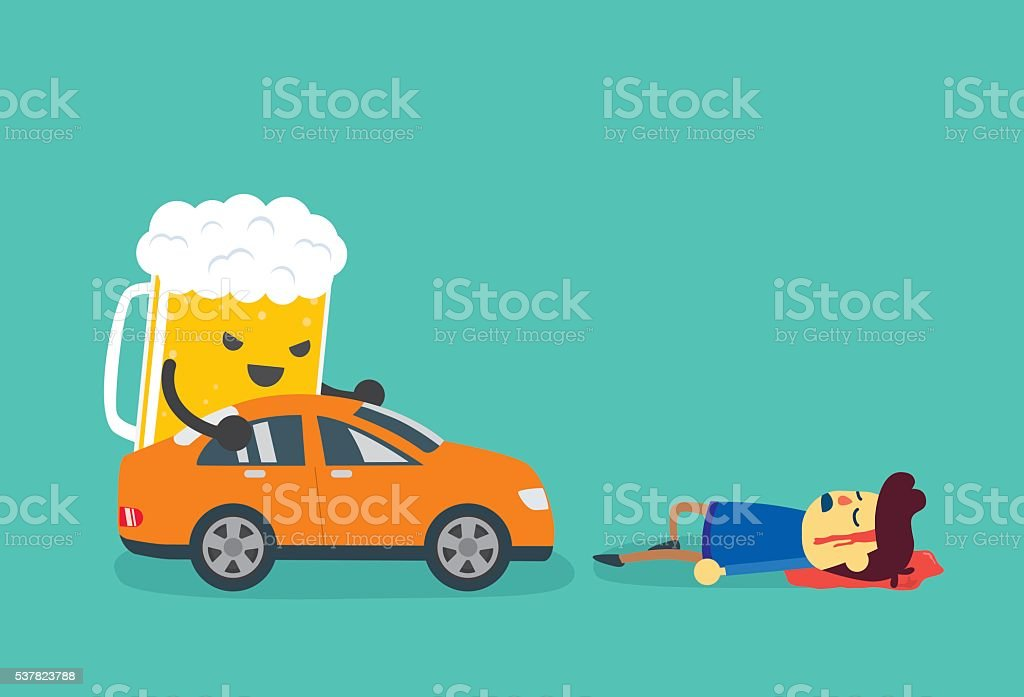 Drunk and driving make people dead from car accident. vector art illustration