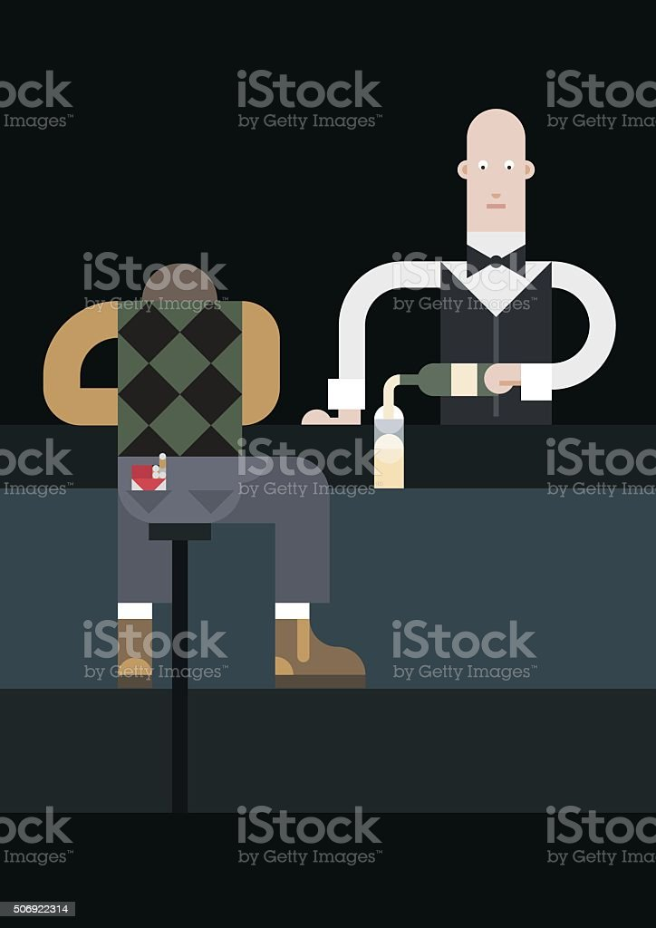 Drunk and waiter vector art illustration