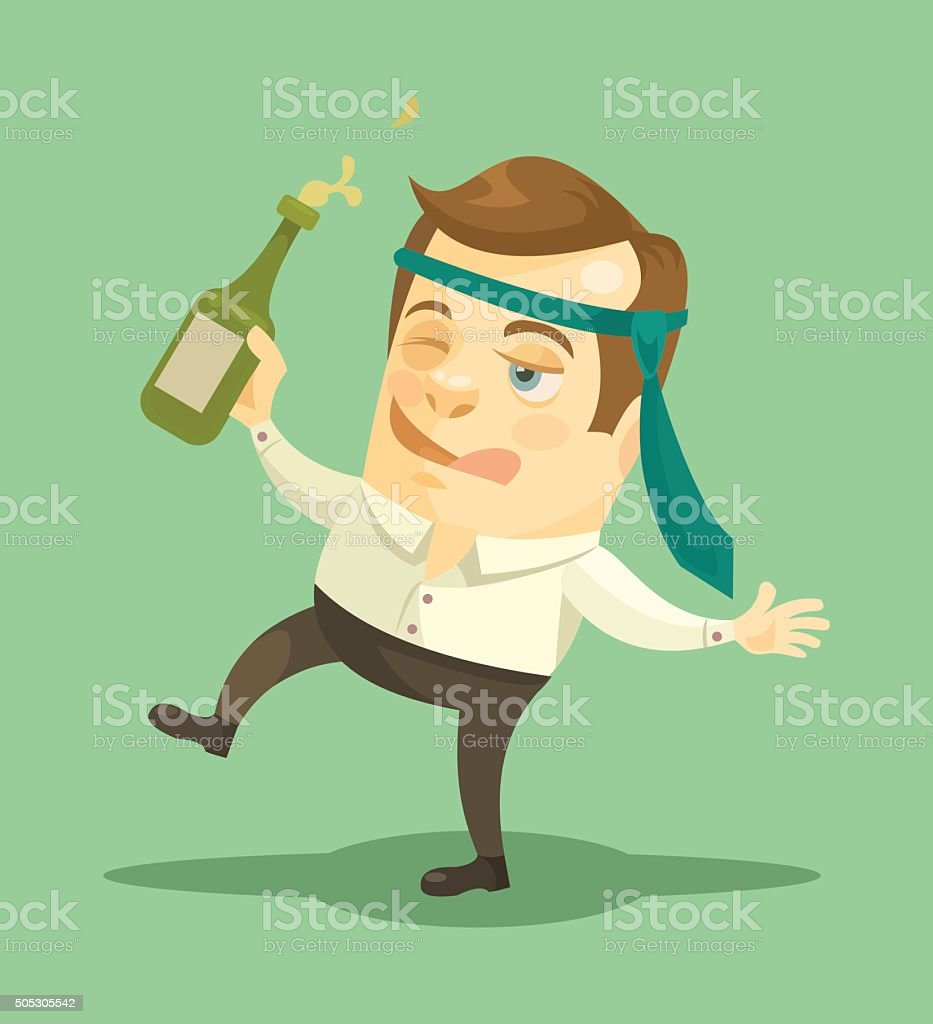 Drunk businessman. Vector flat illustration vector art illustration