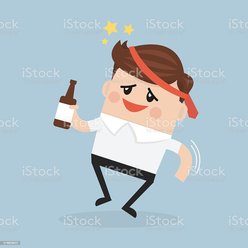 Drunk Businessman with alcohol bottle. vector art illustration