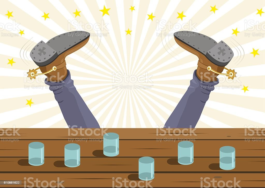 Drunk cowboy fell vector art illustration