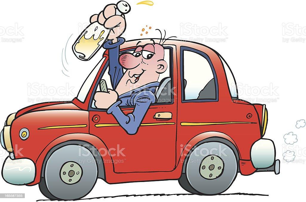 Drunk driver vector art illustration