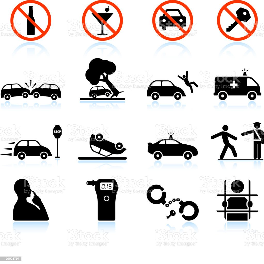 Drunk Driving and Consequences black & white vector icon set vector art illustration