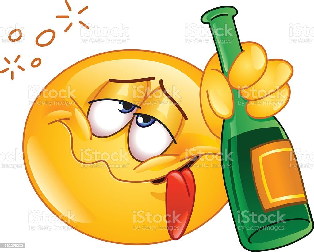 Drunk emoticon vector art illustration