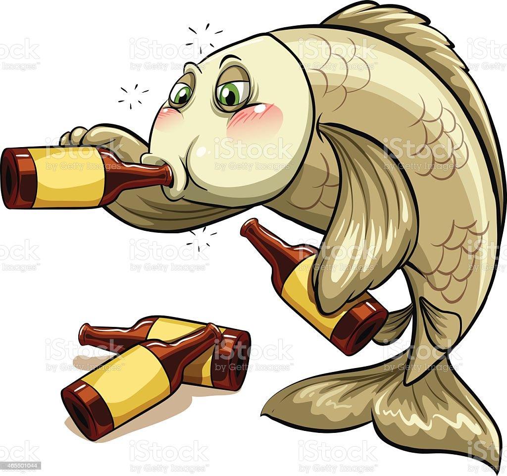 Drunk fish vector art illustration