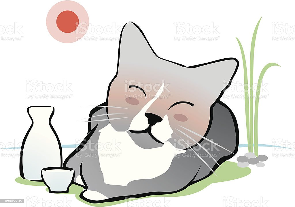 Drunk Gray Cat Smiling Under The Sun royalty-free stock vector art