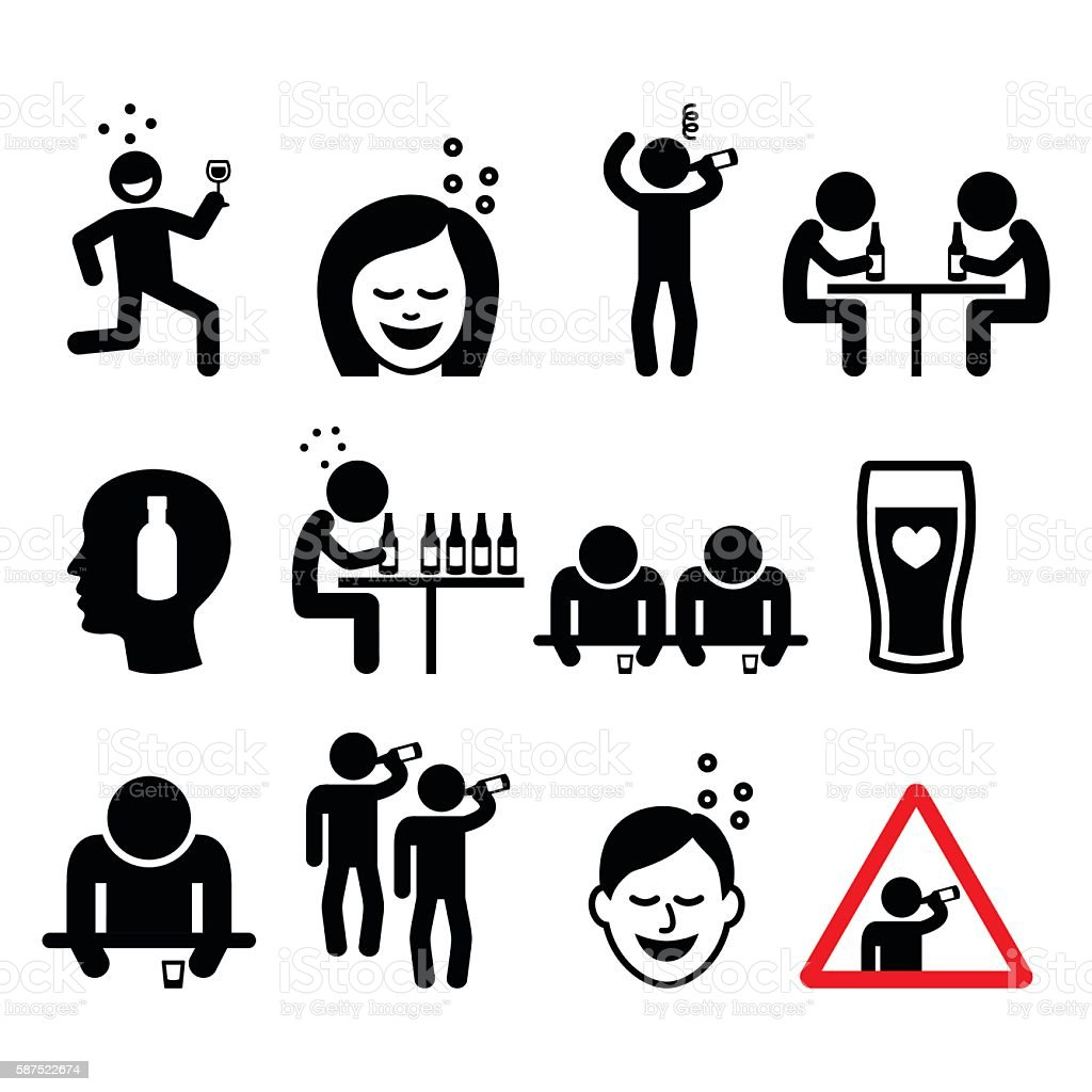 Drunk man and woman, people drinking alcohol icons set vector art illustration