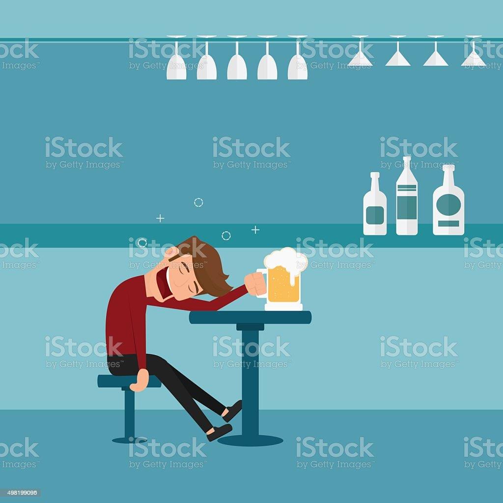 Drunk man asleep at the bar in the night club. vector art illustration