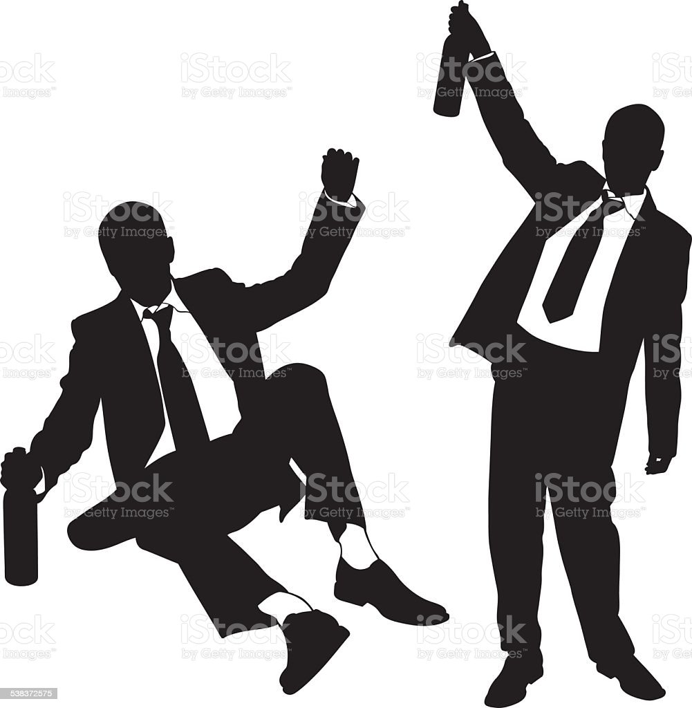 drunk men vector art illustration