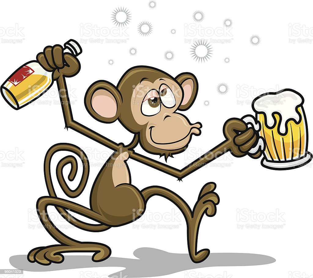 Drunk Monkey - Circus Icons - Vector Illustration vector art illustration