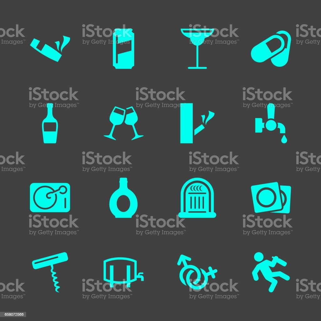 Drunk Party Icons vector art illustration