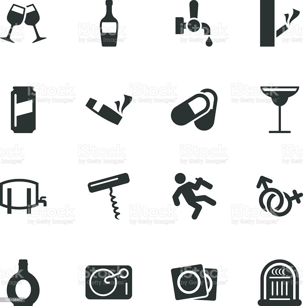 Drunk Party Silhouette Icons | Set 2 vector art illustration
